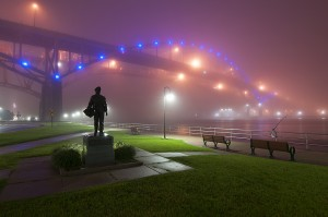 Night Fog; Blue Water Bridge